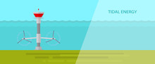 Vector Flat Design.Tidal Energy.
