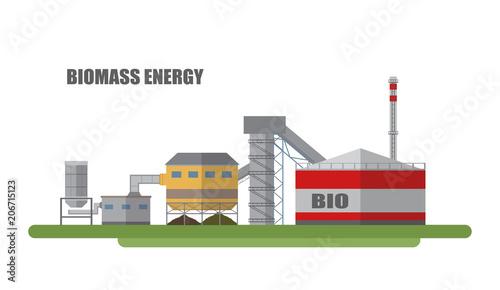 Photo Vector factory biomass energy.