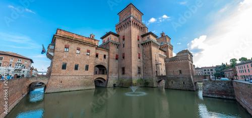 Ferrara, Castello Estense, panorama Fotobehang