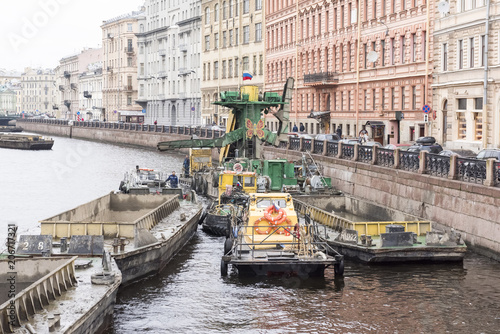 Photo  Traffick of barges on Neva river, St Petersburg, Russian Federation