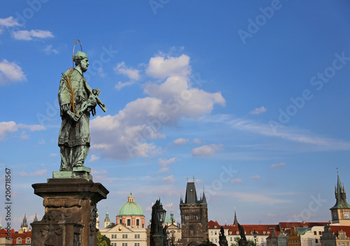 Canvas Prints Antwerp statue of John of Nepomuk at Charles Bridge in Czech Republic