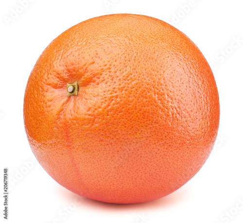 Perfectly retouched whole orange grapefruit fruit isolated on the white background with clipping path. One of the best isolated orange grapefruits that you have seen.