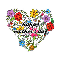 Floral heart with Happy Mother's Day writing inside. Vector greeting card with heart shaped by flowers, hand drawn.