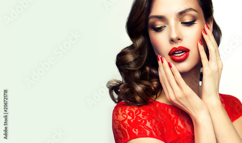 Beautiful    model  girl  with curly brown  hair Fototapeta