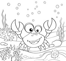 Cartoon Crab. Underwater World...