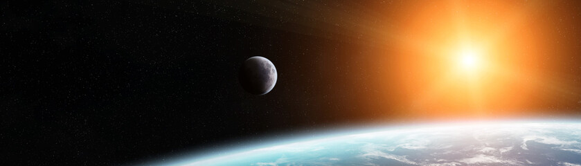 Panoramic view of planet Earth with the moon 3D rendering elements of this im...
