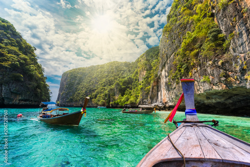 Traditional long tail boat on the sea in Loh Samah Bay, Phi Phi island, Thailand
