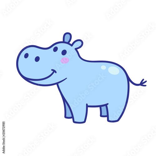 Valokuvatapetti Cute cartoon hippo