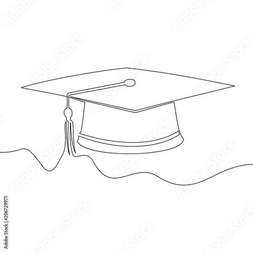Photo Square academic cap. Continuous line Vector