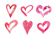 Hand Drawn Vector Heart Set With Different Tools Like Brushes, Chalk, Ink.