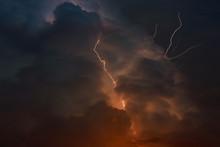 Thunderstorm With Lightning Multiple Forks Of Lightning Pierce The Night Sky