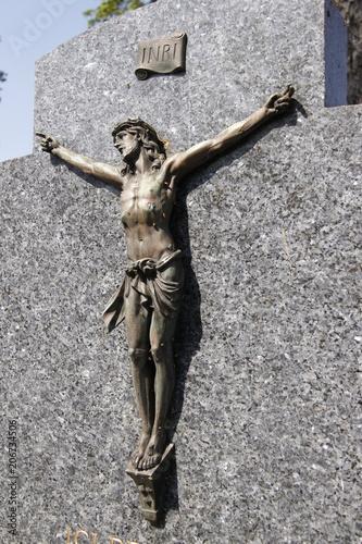 Canvas Christ sur la croix, tombe du cimetière de Passy à Paris