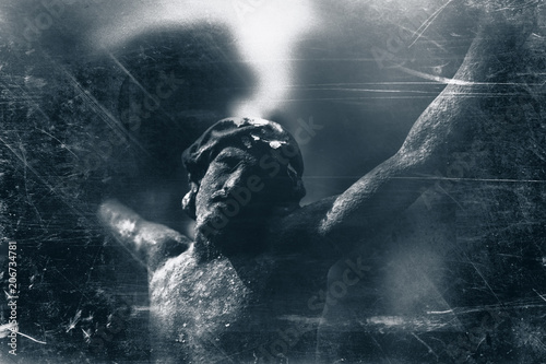 Retro styled destroyed ancient statue of the crucifixion of Jesus Christ Fotobehang