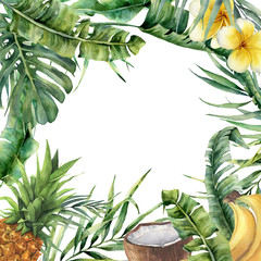 NaklejkaWatercolor tropical frame with exotic leaves, fruit and flowers. Hand painted floral illustration with banana and coconut palm branches, plumeria, pineapple isolated on white background for design