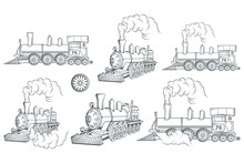 Set Of Different Locomotive. Old Train Logo. Locomotive Drawing. Steam Transport. Vector Graphics To Design.