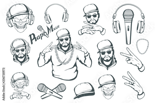 Rap music set  Rapper skull on white background  Lettering with a