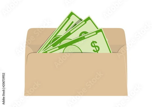 Valokuvatapetti Money in envelope. Net and shadow income. Vector illustration.