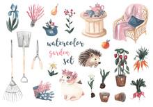 Watercolor Garden Set. Garden ...