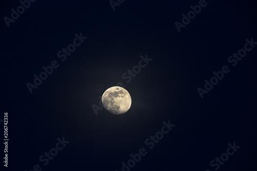 Fotografie, Obraz  Waxing Gibbous Illumination Moon, spring 2018.