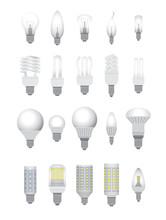 Vector Illustration.Set Of Electric Bulbs.