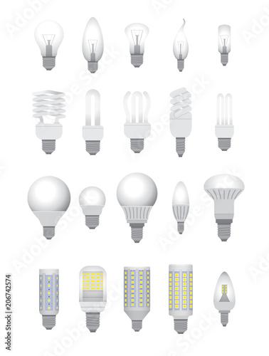 Obraz Vector illustration.Set of electric bulbs. - fototapety do salonu