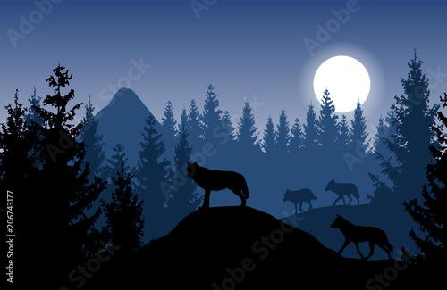 Staande foto Nachtblauw Blue vector landscape with a pack of wolves in dense forest with glowing moon.