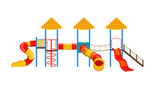 Vector Illustration. Kids Playground With Slides And Tube Isolated On White Background.