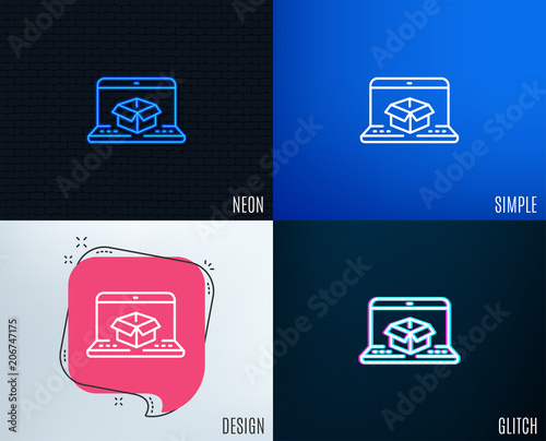 Glitch, Neon effect  Online delivery line icon  Parcel
