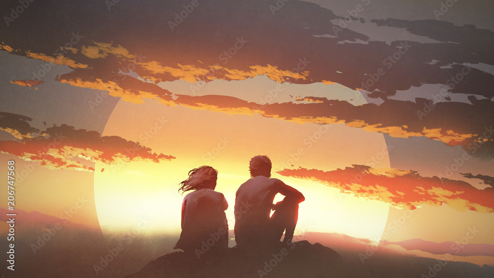 Fototapety, obrazy: silhouette of a young couple sitting on a rock looking at the sunset, digital art style, illustration painting