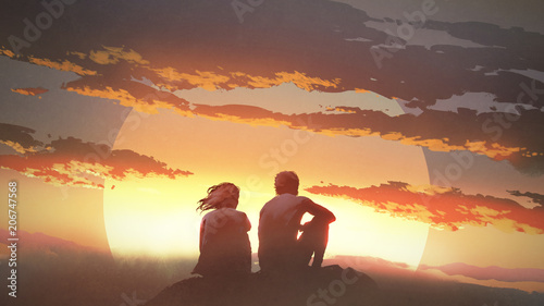 Poster Deep brown silhouette of a young couple sitting on a rock looking at the sunset, digital art style, illustration painting