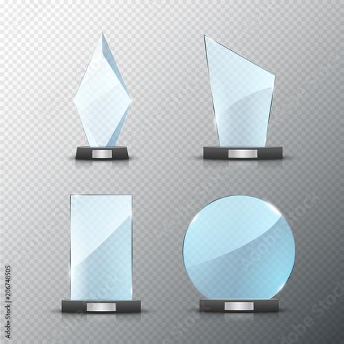 glass trophy award set isolated vector blank award on bright