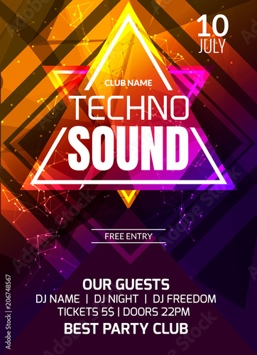 techno sound music party template dance party flyer brochure