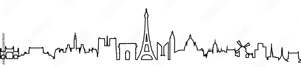 Fototapety, obrazy: Paris silhouette one line - stock vector