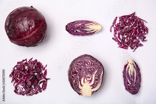 Composition with ripe red cabbage on white background Fototapeta