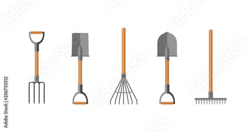 Cuadros en Lienzo Vector illustration. Set of tools for gardening. Flat design.