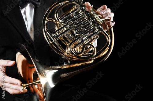 Fotoposter Muziek French horn player hands. Hornist playing horn