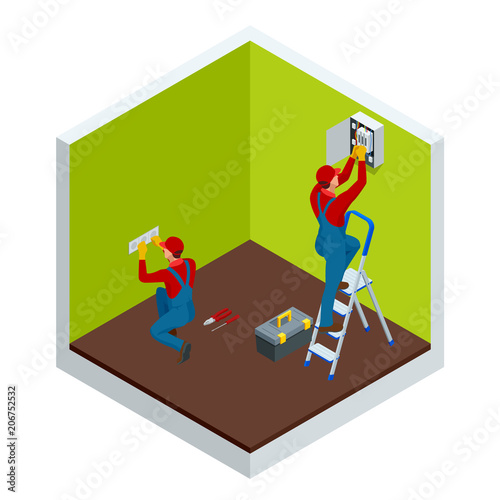 Isometric master electrician at work near the plate with a ... on