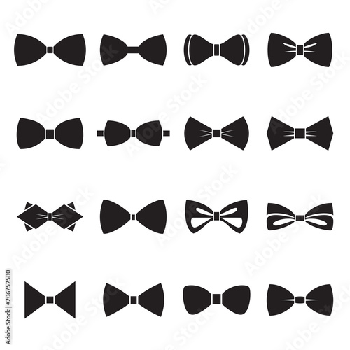 Fotomural Bow tie icons isolated on a white background. Vector illustration