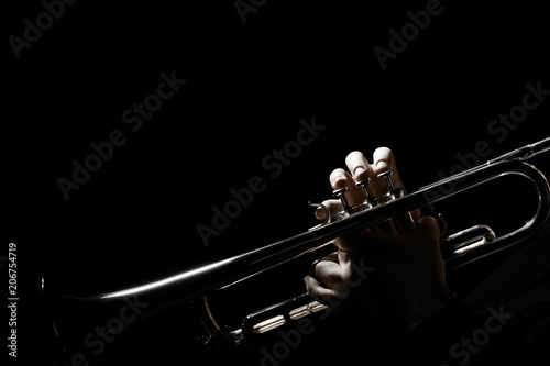 Stickers pour porte Musique Trumpet player. Hands of trumpeter playing jazz