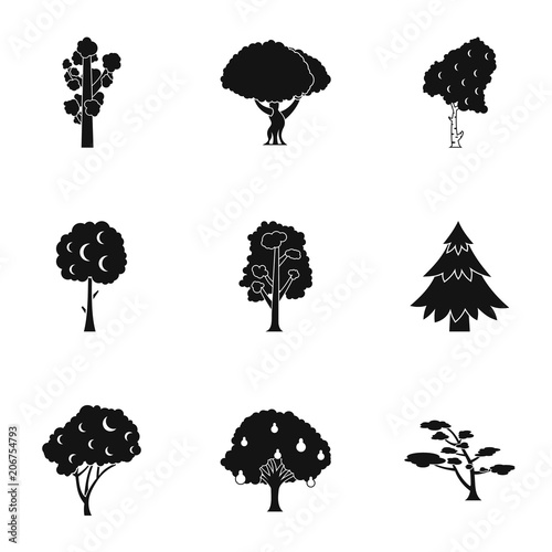 Arboreal plant icons set Wallpaper Mural