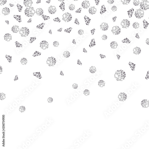 Shiny diamond gems falling isolated Wallpaper Mural
