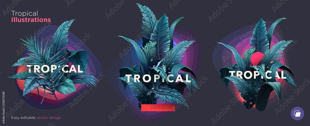 Fototapety, obrazy: Set of Summer Bright tropical design elements. Print on T-shirts, sweatshirts, cases for mobile phones, souvenirs