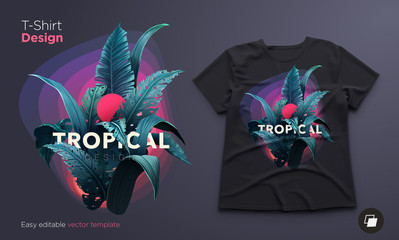 Bright tropical design for t-shirt or poster with jungle plants. Exotic illustration