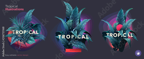 Set of Summer Bright tropical design elements. Print on T-shirts, sweatshirts, cases for mobile phones, souvenirs