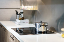 Metal Pot On Induction Hob In ...