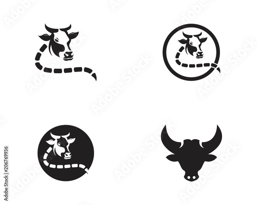 cow head logo vector template buy this stock vector and explore