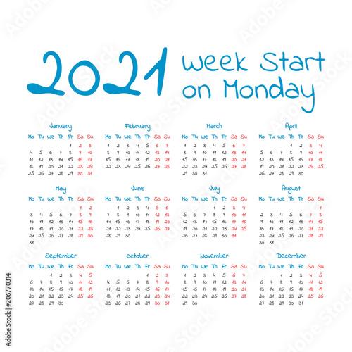 Poster  Simple 2021 year calendar