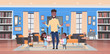 happy father day family holiday african daughter and son present gifts for dad in living room greeting card flat vector illusrtation