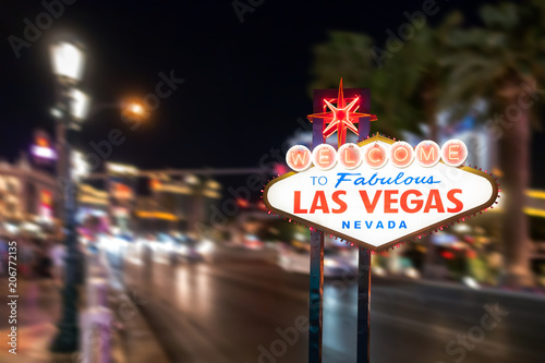 Famous Las Vegas sign with blur cityscape
