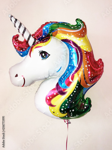 Balloon in the form of a fairy unicorn with a colorful glittering mane